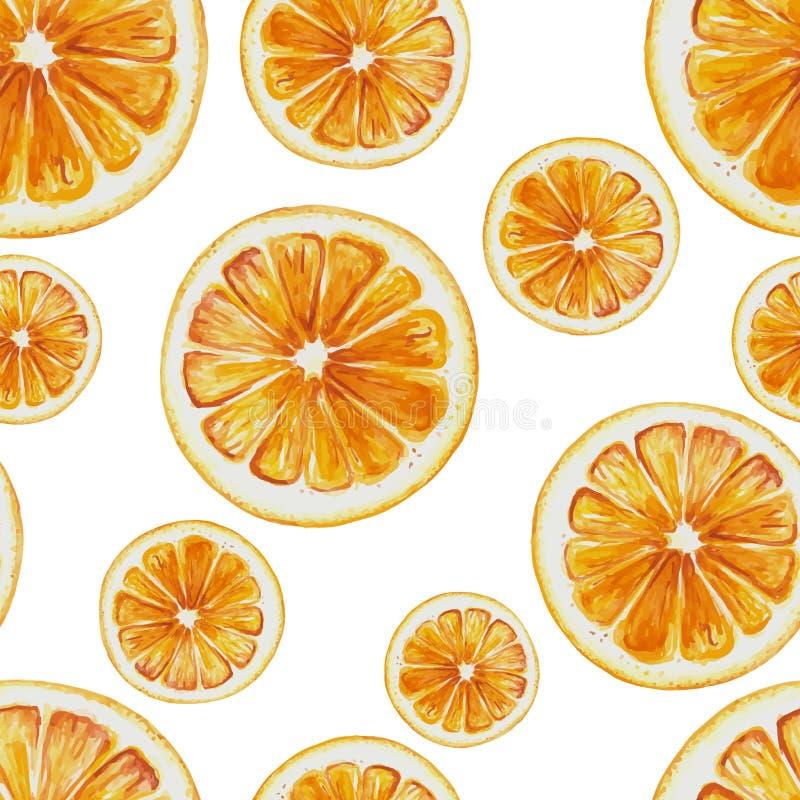 Waterverf naadloos patroon van oranje fruitplakken stock illustratie