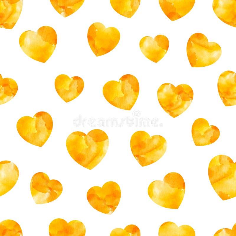 Waterverf naadloos patroon van oranje harten stock illustratie