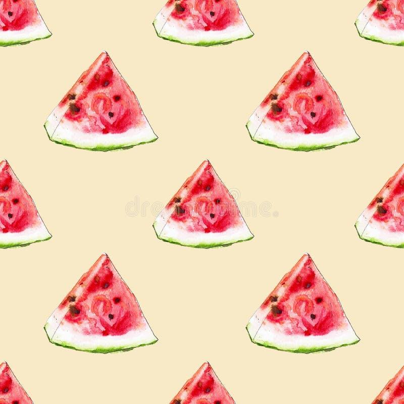 Waterverf naadloos patroon van rode sappige watermeloenslicies vector illustratie