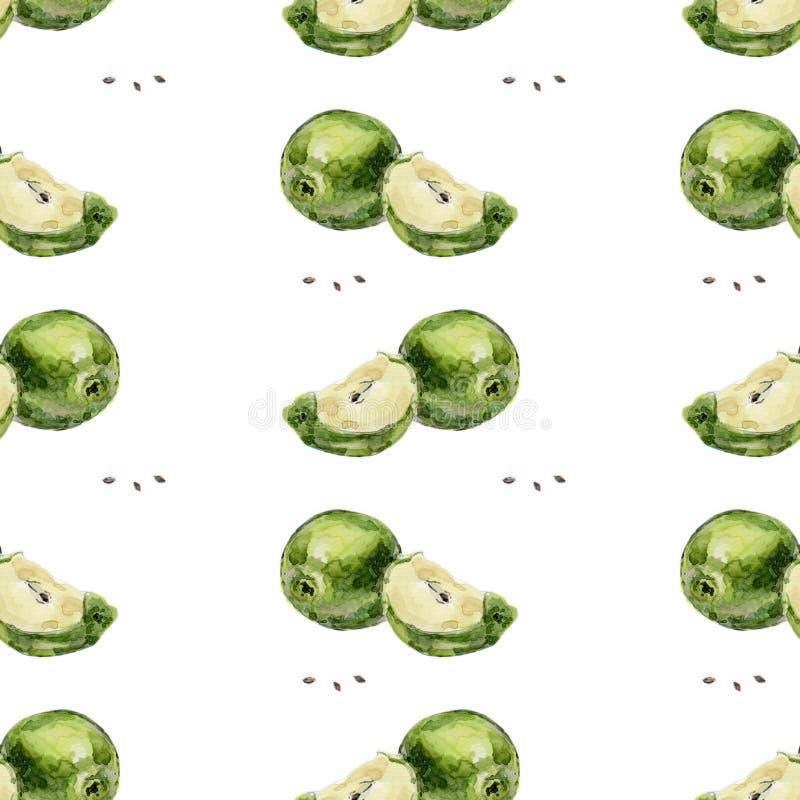 Waterverf naadloze groene appelen als achtergrond en plakken van appelen op een witte achtergrond royalty-vrije illustratie