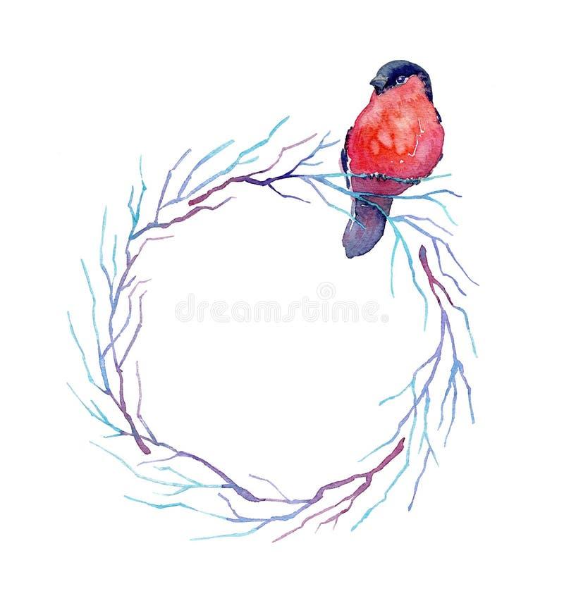 Waterverf om bloemenkader met een vogel vector illustratie