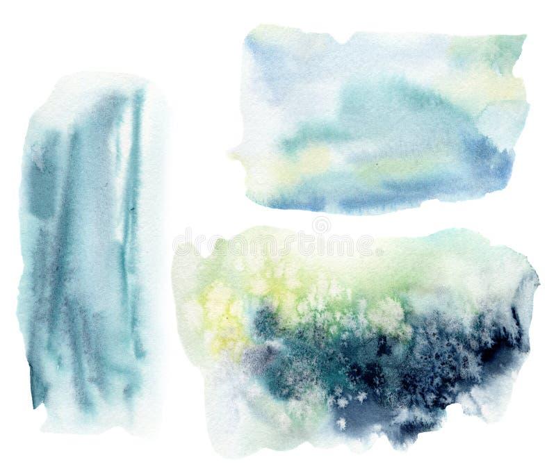 Waterverf onderwater abstracte textuur Hand geschilderde overzees of oceaanachtergrond Aquatische illustratie voor ontwerp, druk  royalty-vrije illustratie