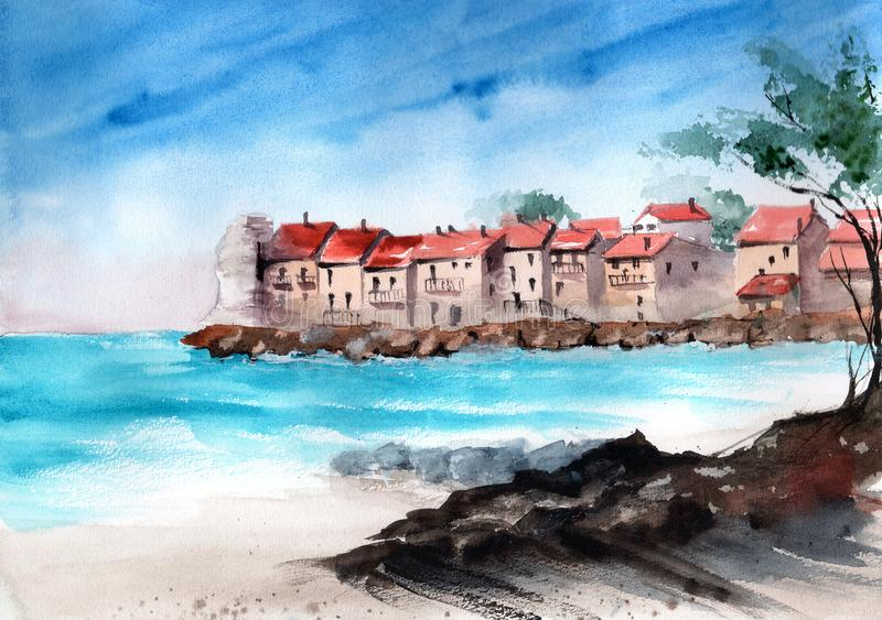 Waterverf oude stad royalty-vrije illustratie
