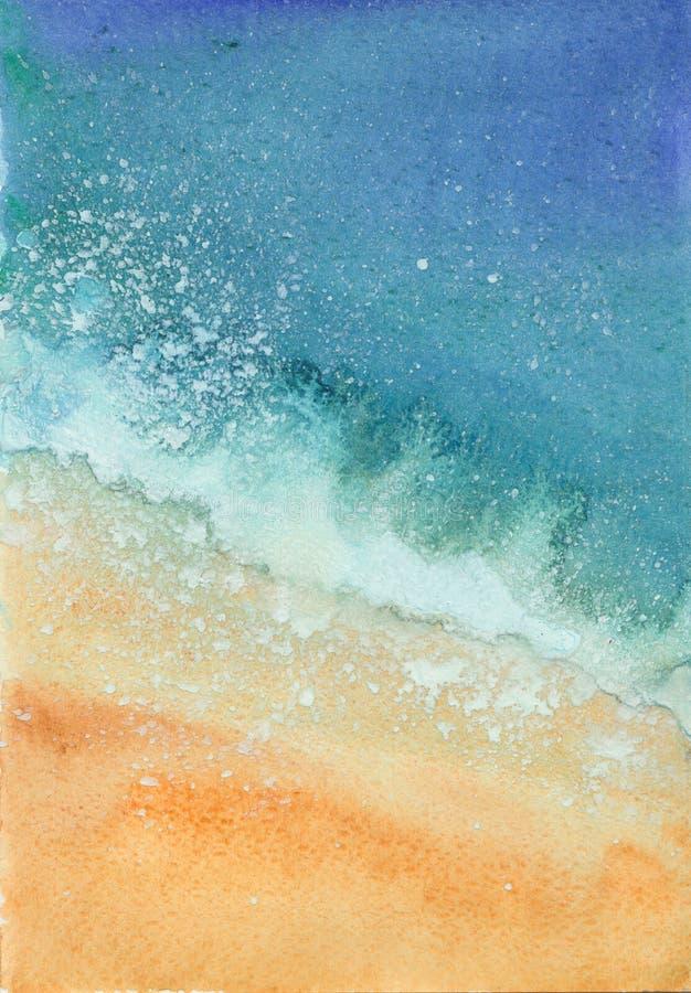 Waterverf overzees strand royalty-vrije stock foto's
