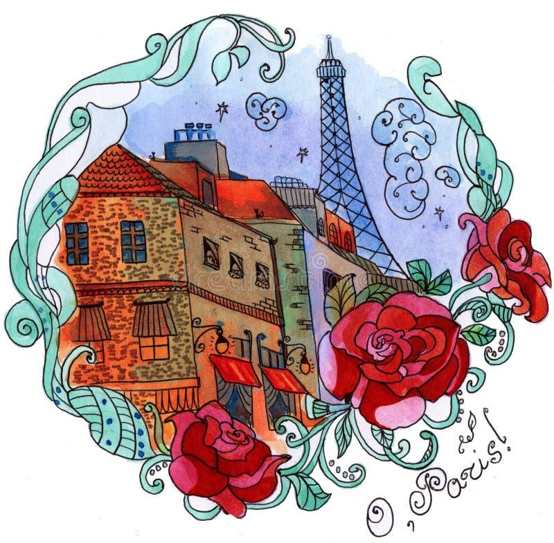 Waterverf Parijs vector illustratie