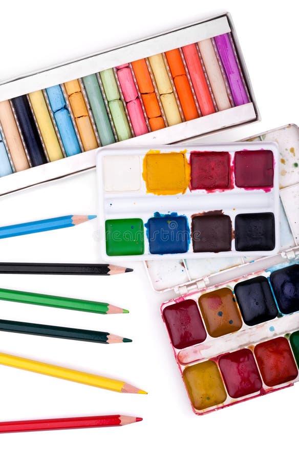 Waterverf, potlood en pastelkleuren royalty-vrije stock afbeeldingen