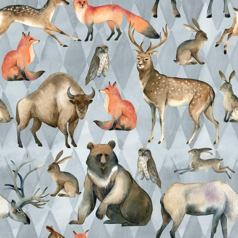 Waterverf realistische bos dierlijke schets Seamlespatroon over rode vos, hazen, bruine beer, herten, elanden, uil, bizon, mannet stock illustratie