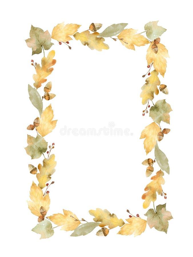 Waterverf rechthoekig die kader van bladeren en takken op witte achtergrond worden geïsoleerd stock illustratie