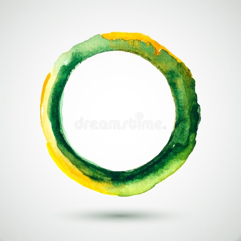 Waterverf-ring-olijf-geel stock illustratie