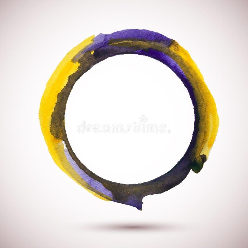 Waterverf-ring-violet-geel vector illustratie