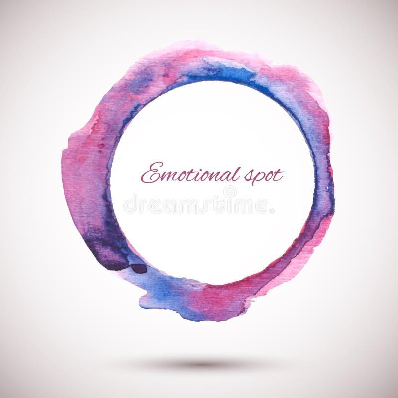 Waterverf-ring-violet-roze stock illustratie