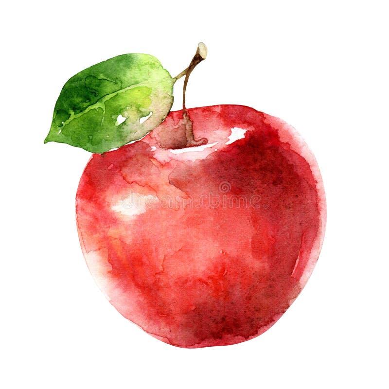Waterverf rode die appel op witte achtergrond wordt geïsoleerd royalty-vrije illustratie