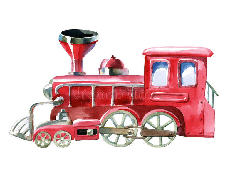 Waterverf rode trein royalty-vrije illustratie