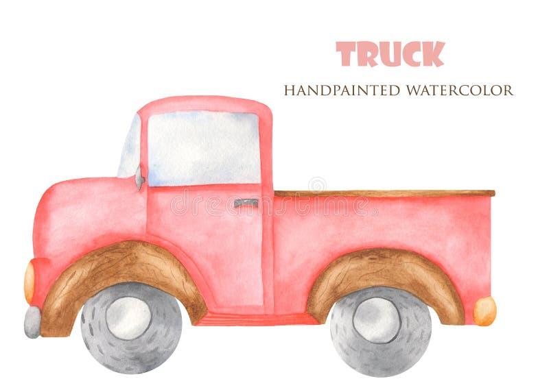 Waterverf rode vrachtwagen voor vervoer vector illustratie