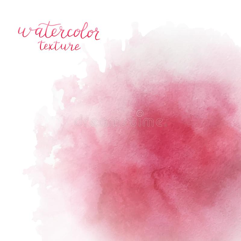 Waterverf roze achtergrond met ruimte voor tekst Blauwe abstracte cirkel op de witte achtergrond Hand getrokken watercolour textu royalty-vrije illustratie