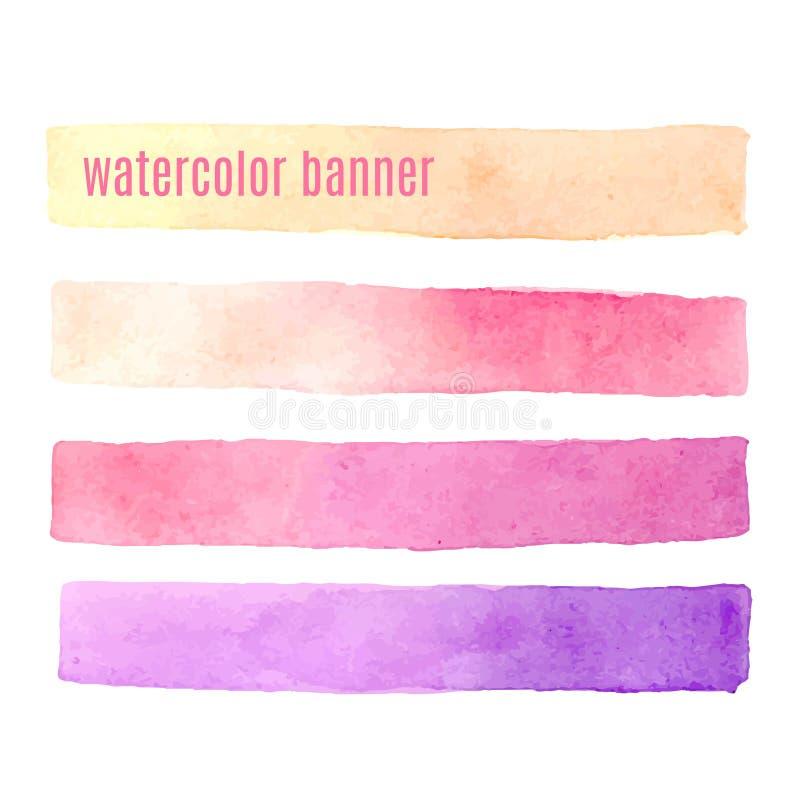 Waterverf roze banners geplaatst die op witte vector worden geïsoleerd als achtergrond vector illustratie