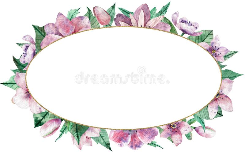 Waterverf roze bloemen ovaal kader met bloemen en centrale witte exemplaarruimte voor tekst Decoratieve Kerstmis nam toe stock illustratie
