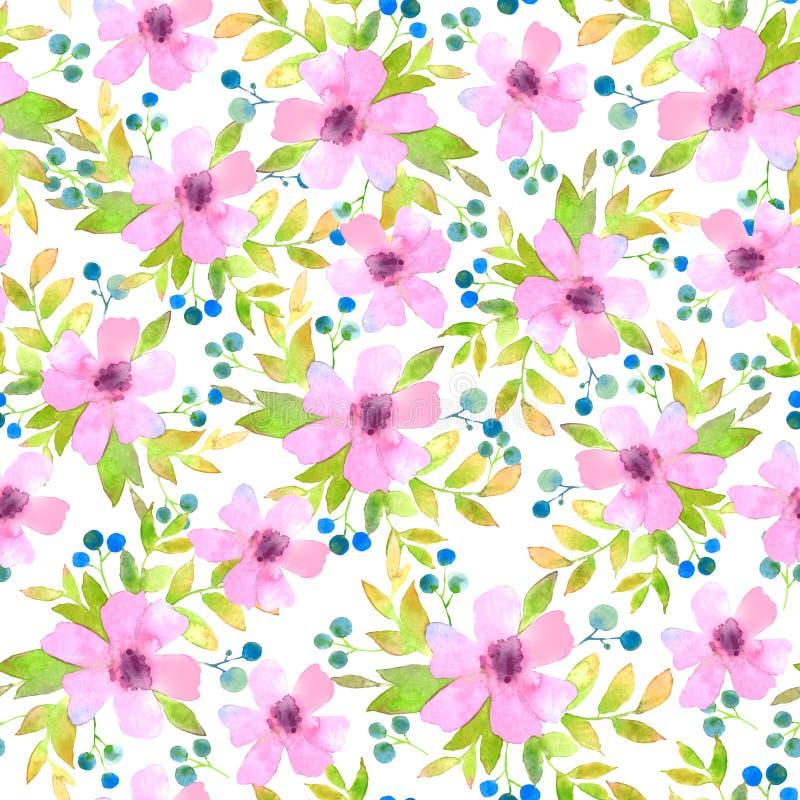 Waterverf Roze Bloemen stock fotografie