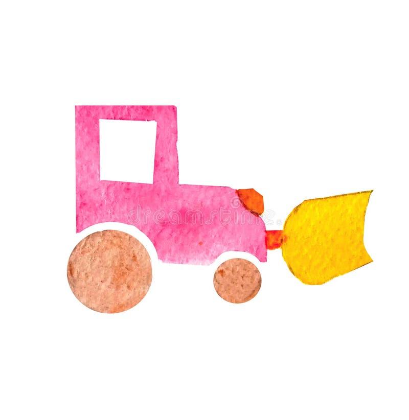 Waterverf roze bulldozer met geel tapijt in het beeldverhaal eenvoudige stijl van kinderen op een witte geïsoleerde achtergrond stock illustratie