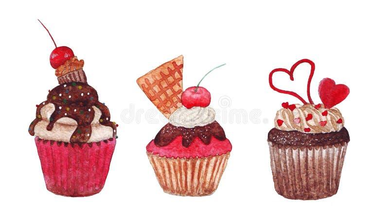 Waterverf roze cupcakes stock fotografie