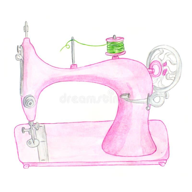 Waterverf roze die naaimachine op witte achtergrond wordt geïsoleerd stock afbeeldingen