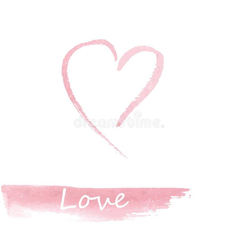 Waterverf roze hand getrokken hart stock illustratie