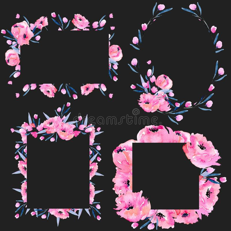 Waterverf roze papavers en bloemen de grenzeninzameling van het takkenkader royalty-vrije illustratie
