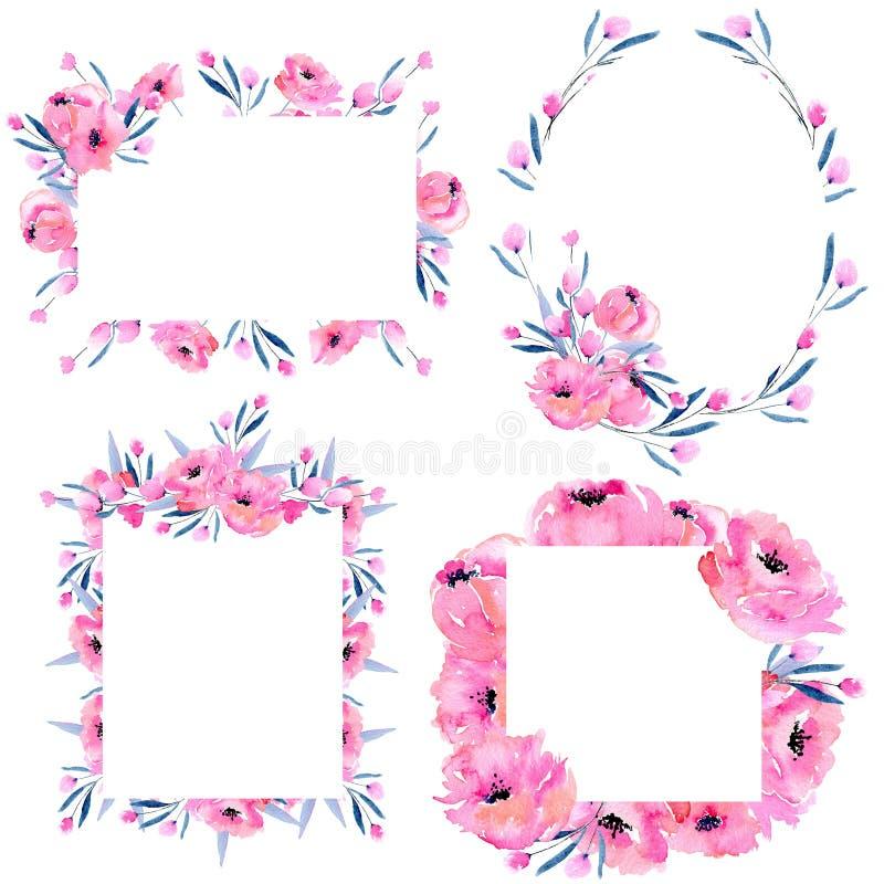Waterverf roze papavers en bloemen de grenzeninzameling van het takkenkader op een witte achtergrond stock illustratie