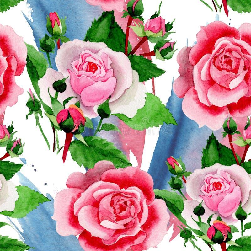 Waterverf roze Rose Flower Bloemen botanische bloem Naadloos patroon als achtergrond royalty-vrije illustratie