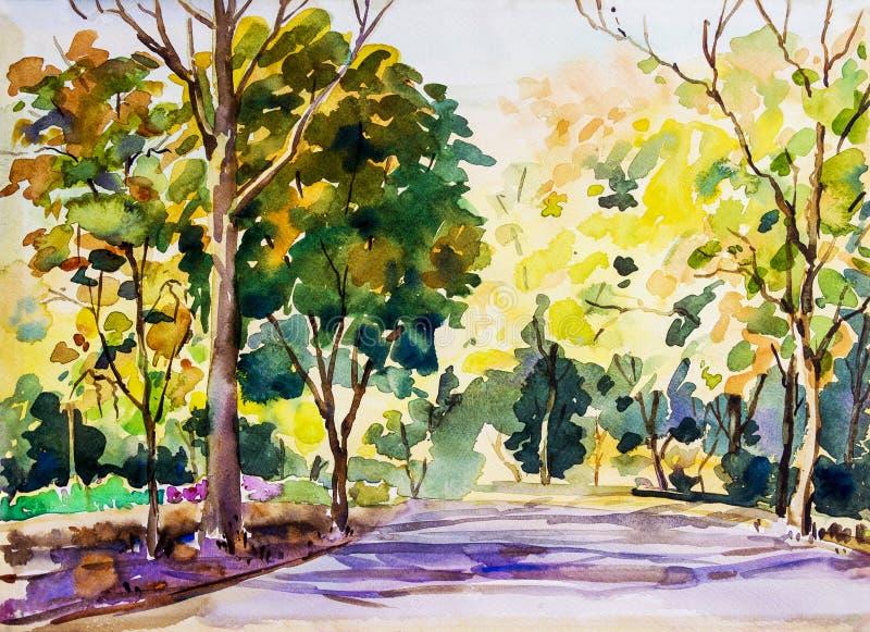 Waterverf schilderen kleurrijk van de weg in de houtherfst royalty-vrije illustratie