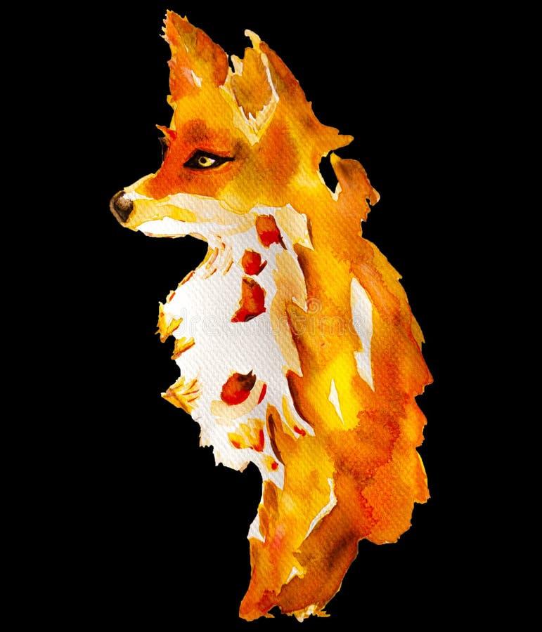 Waterverf schilderen van oranje jonge voszitting en kijken iets, met de hand getrokken en geïsoleerd op zwarte achtergrond, het  royalty-vrije stock fotografie