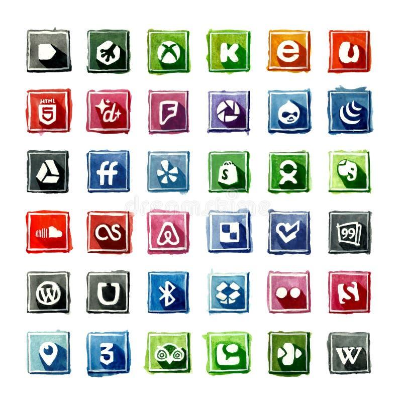 35 waterverf Sociale Media Pictogrammen vector illustratie
