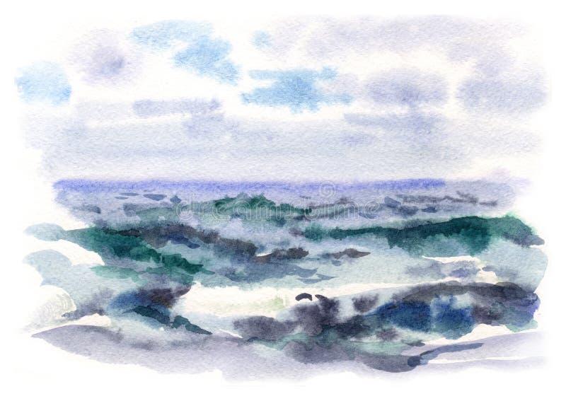 Waterverf stormachtige overzees stock illustratie