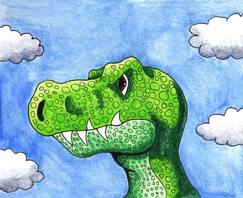 Waterverf T Rex Enjoying The Blue Sky vector illustratie