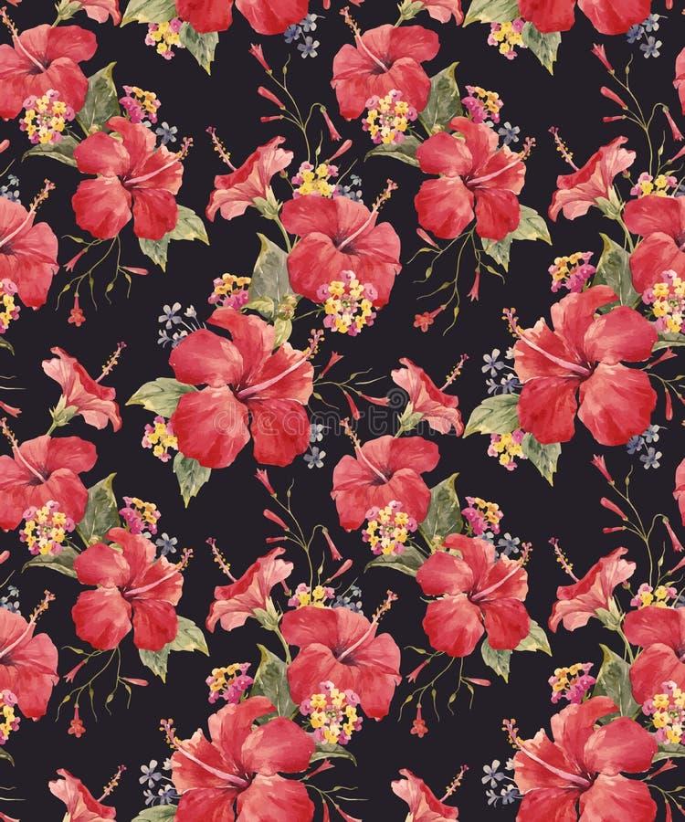 Waterverf tropisch bloemen vectorpatroon vector illustratie