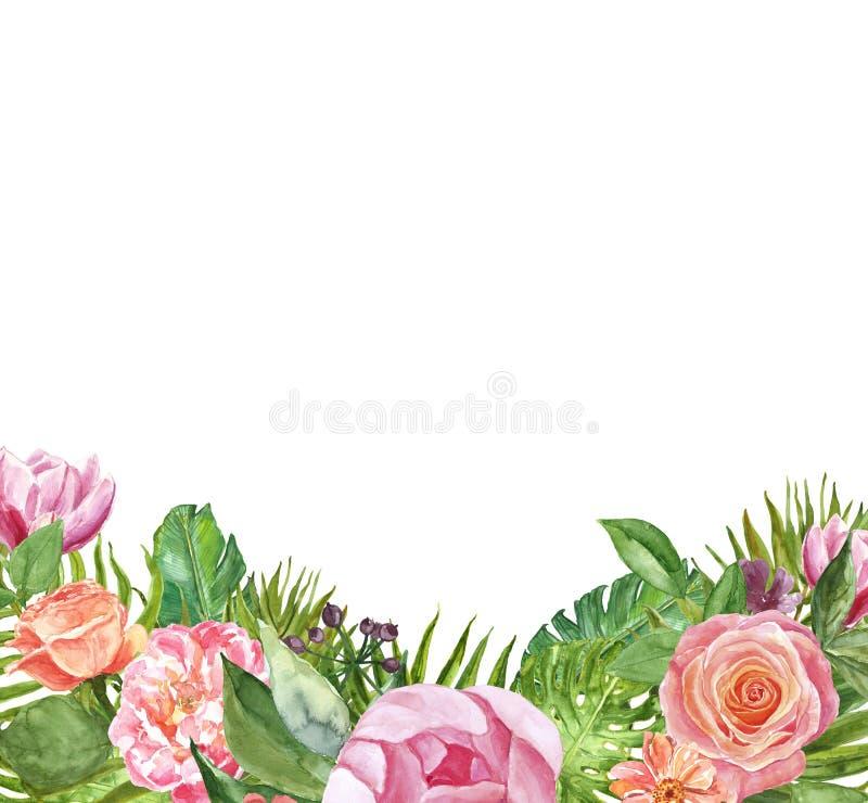 Waterverf tropisch bloemenkader voor ontwerp In geïsoleerde de zomergrens met palmbladen en roze bloemen, De uitnodiging van het  royalty-vrije illustratie