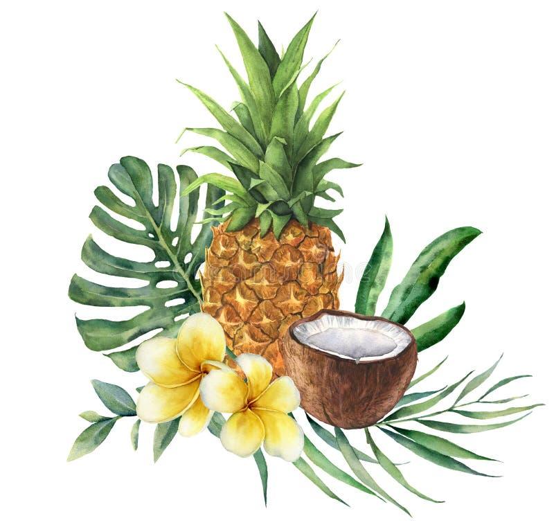 Waterverf tropisch boeket met bloemen, bladeren en fruit Hand geschilderde monstera, palmtak, frangipani, ananas stock illustratie