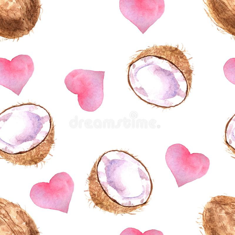 Waterverf tropisch naadloos patroon met kokosnoot op een witte achtergrond royalty-vrije illustratie