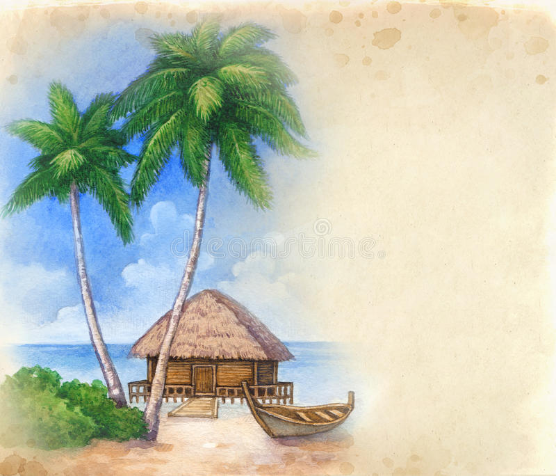 Waterverf tropisch strand stock illustratie
