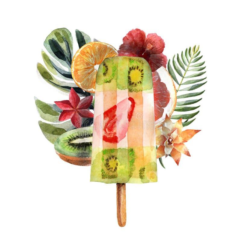Waterverf tropische illustratie met fruitijs, vruchten en bloemen vector illustratie