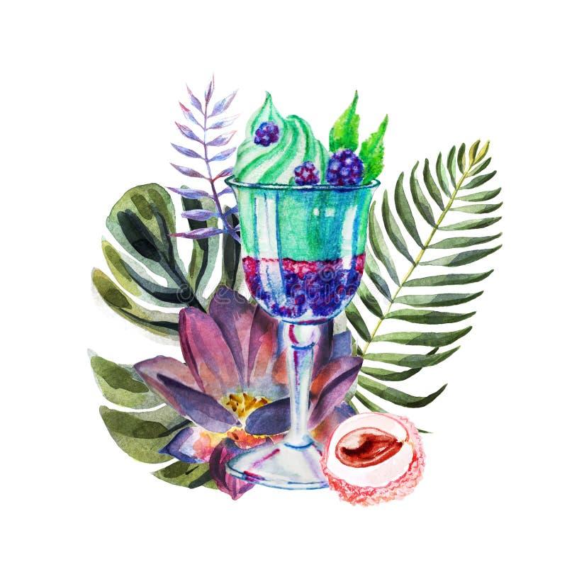 Waterverf tropische illustratie met roomijs, vruchten en bloemen stock illustratie