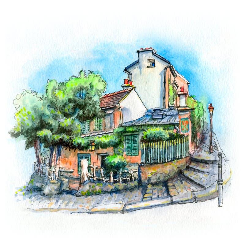 Waterverf Typisch Parijse huis, Frankrijk stock illustratie