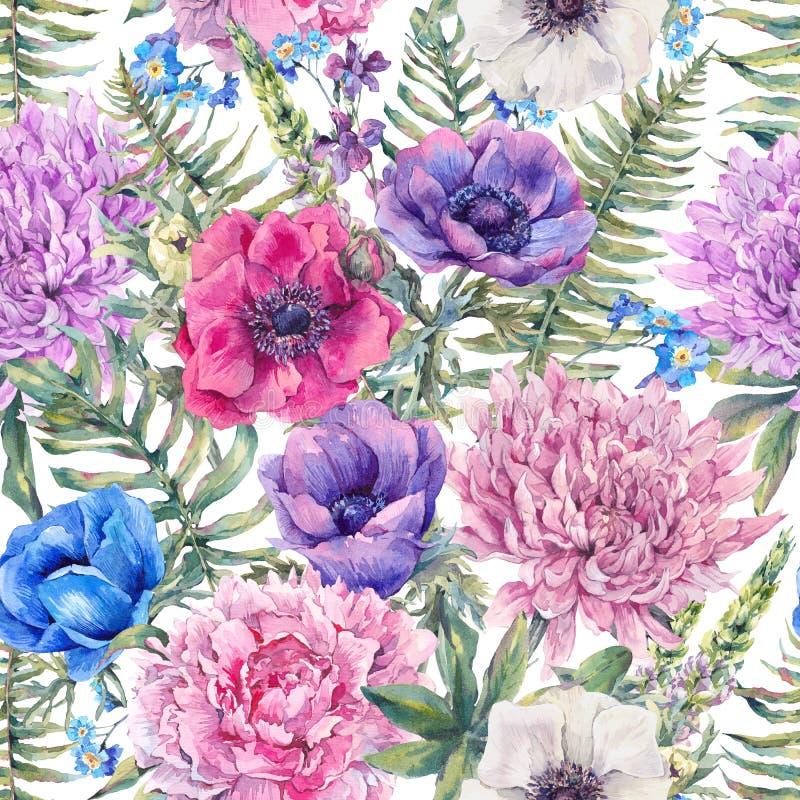 Waterverf uitstekend bloemen naadloos patroon vector illustratie