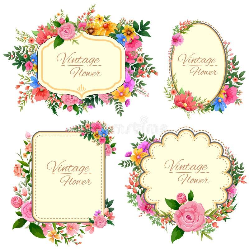 Waterverf Uitstekend bloemenkader stock illustratie