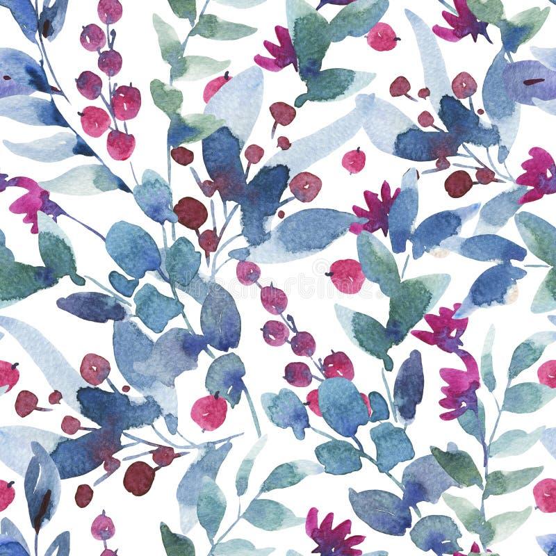 Waterverf Uitstekend Naadloos Patroon met Bessen, Wildflowers, Groene Bladeren vector illustratie