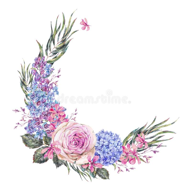 Waterverf uitstekende bloemenkroon met rozen, lilac, blauwe hydrangea hortensia en wildflowers royalty-vrije illustratie