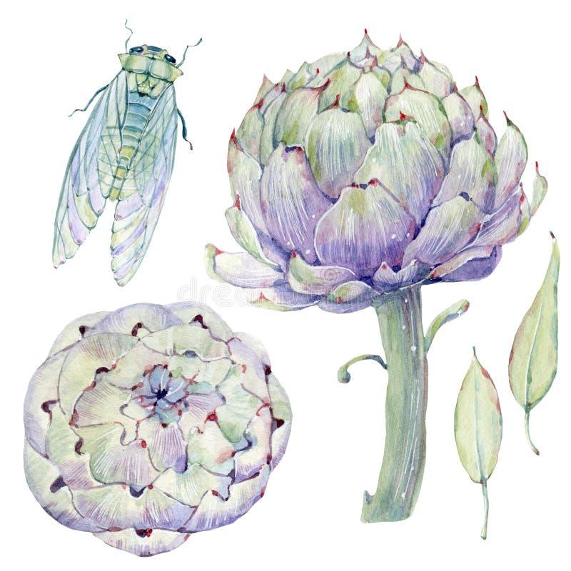 Waterverf uitstekende bloemenreeks vector illustratie
