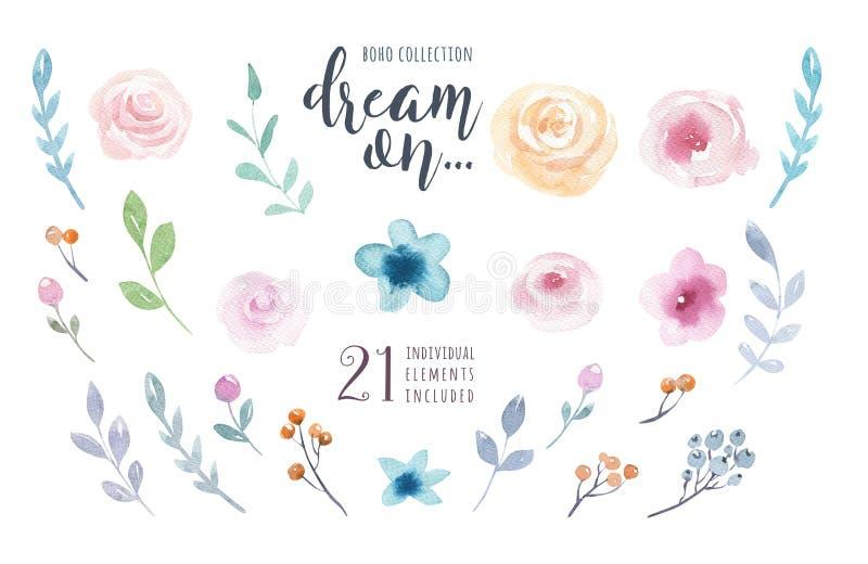 Waterverf uitstekende bloemenreeks De bloemen van de Boholente en bladfra stock illustratie