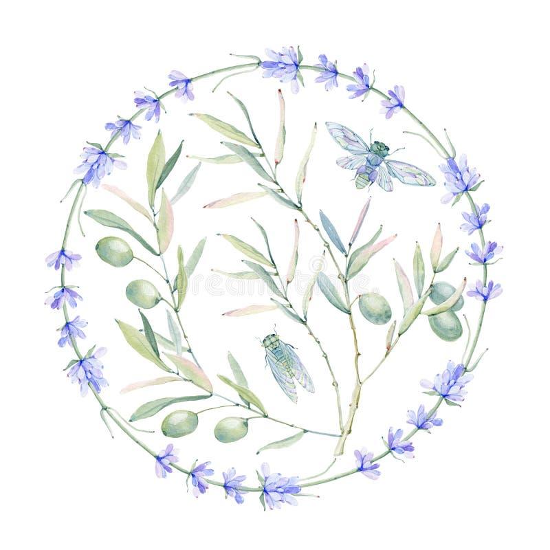 Waterverf uitstekende bloemensamenstelling royalty-vrije illustratie