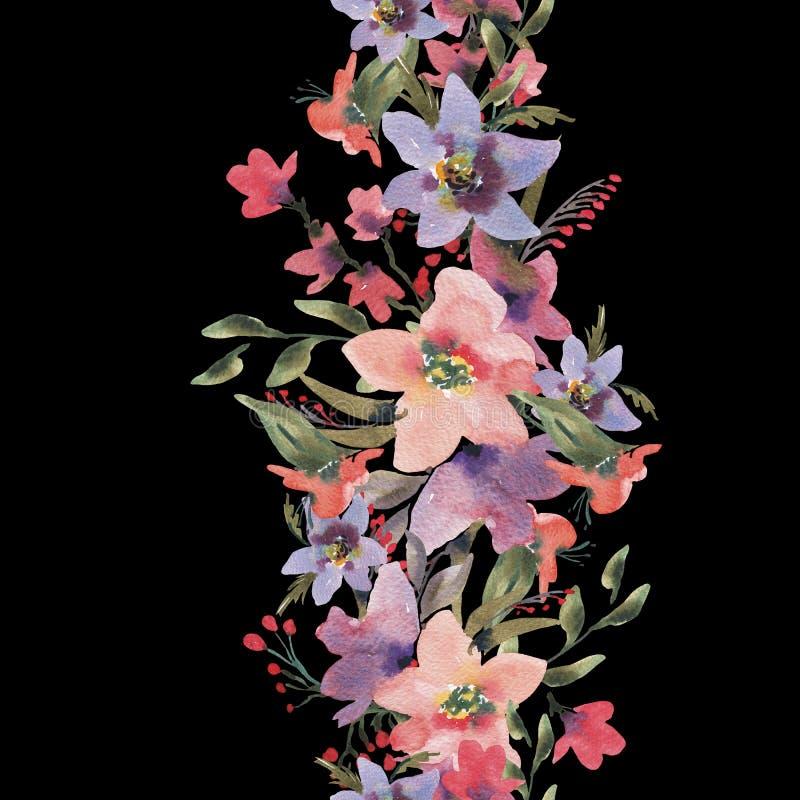 Waterverf Uitstekende Naadloze Grens met de Zomer Wildflowers vector illustratie